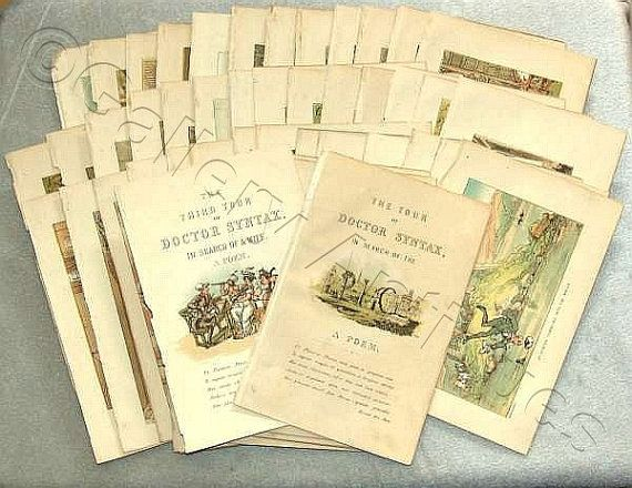 antique 19th Century After Thomas Rowlandson - The Tour of Doctor Syntax Set of 78 book plates Prints and 2 Title Pages c.1840's