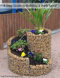 how to build a herb spiral garden, diy, flowers, gardening, homesteading, how to, perennial, A compact herb spiral with stone filled gabion walls