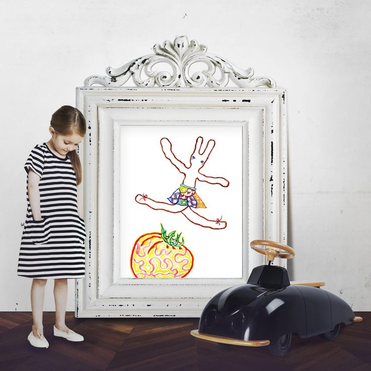 A Ballet Bunny and A Tomato (Print), rabbit print, children illustration, animal print, nursery decor, reproduction, bunny illustration