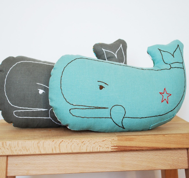embroidered whale pillow in light teal. $35.00, via Etsy.