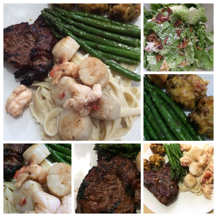 lobster linguini with asparagus, stuffed mushrooms and venison. Fresh ...