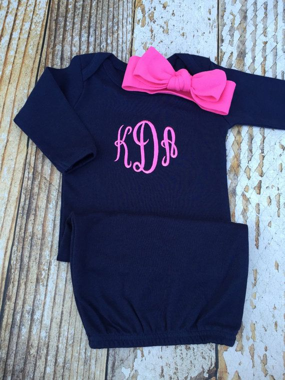 Monogrammed gown and knot headband, monogram baby girl coming home outfit, personalized shower gift, newborn pictures, sleeper, gown layette