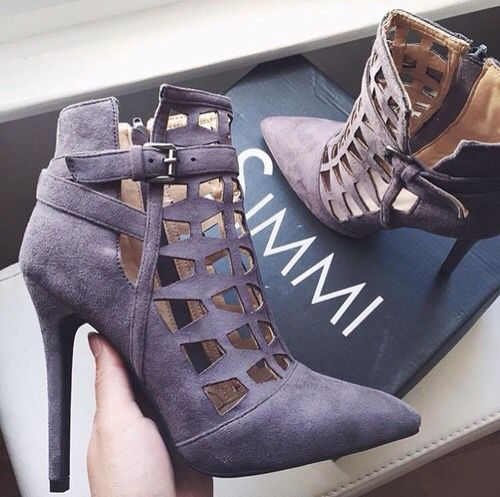 87af0795171 Gray Suede Heels from. Beautiful elegant champagne peep toe women boots ...