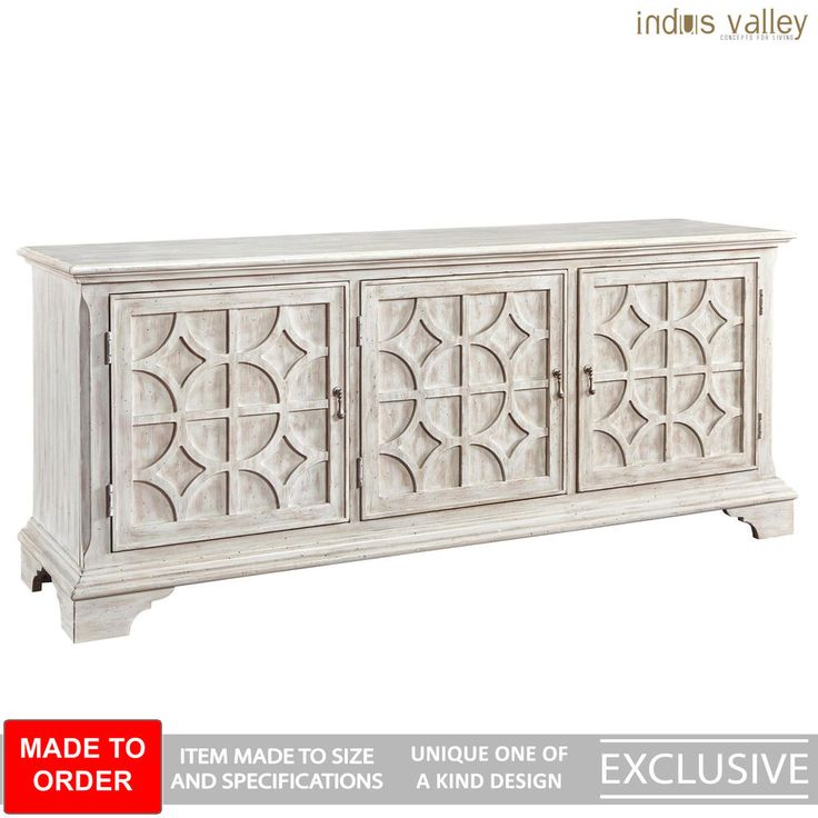 MADE TO ORDER French Colonial solid wood Sideboard Buffet Hutch Whitewash