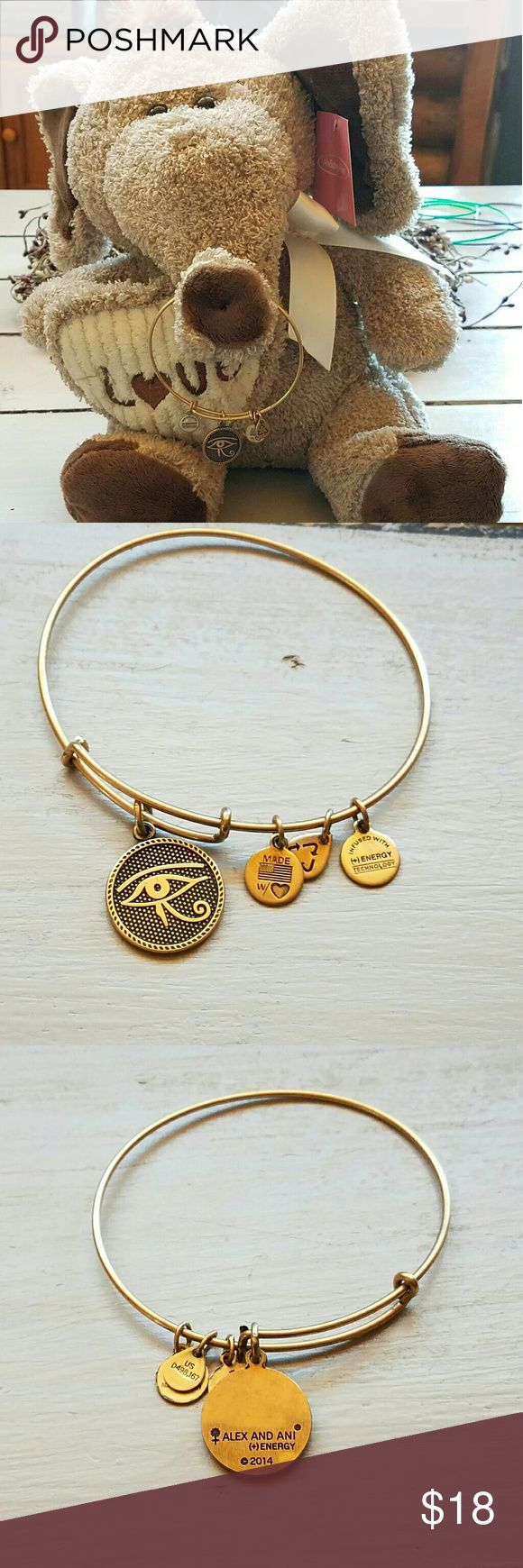 "Alex and Ani the eye of Horus gold color finish This is from the Alex and Ani 2014 energy technology line. It is in excellent condition with the eye of horus and rafelian gold color finish. Please contact me with any questions. Spotlight On: Eye Of Horus Charm Bangle  ""Looking for a sacred symbol of protection? The Eye of Horus Charm Bangle is an ideal choice."" Alex & Ani Jewelry Bracelets"