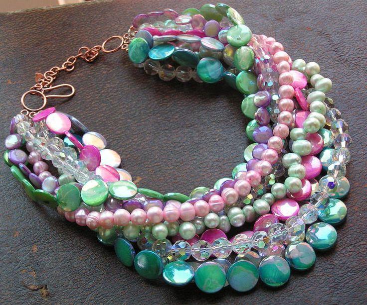beads lover's torsade - no6...beautiful colours! - miabellajewelryshop.com