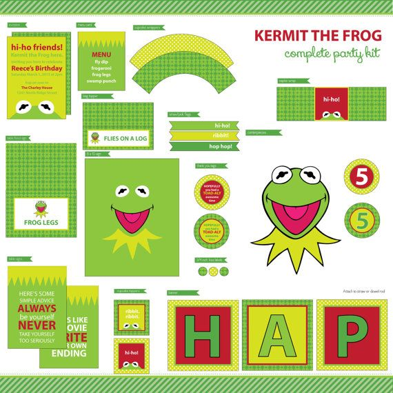 Kermit the Frog Muppets Complete Party Kit - Birthday - Kids - DIY Printable on Etsy, $30.00