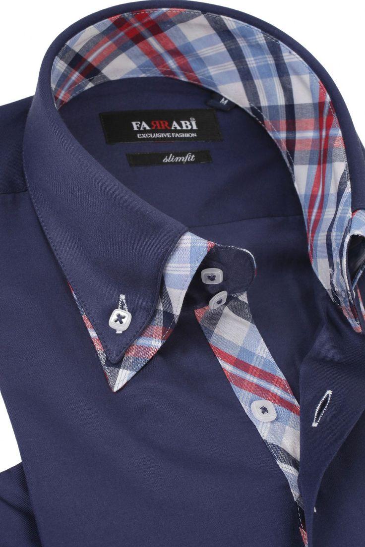 F5 Navy Shirt | Farrabi Slim Fit | Exclusive Luxury Shirts