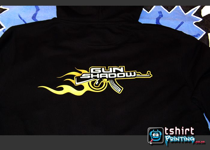 Gun logo print vinyl onto hoody