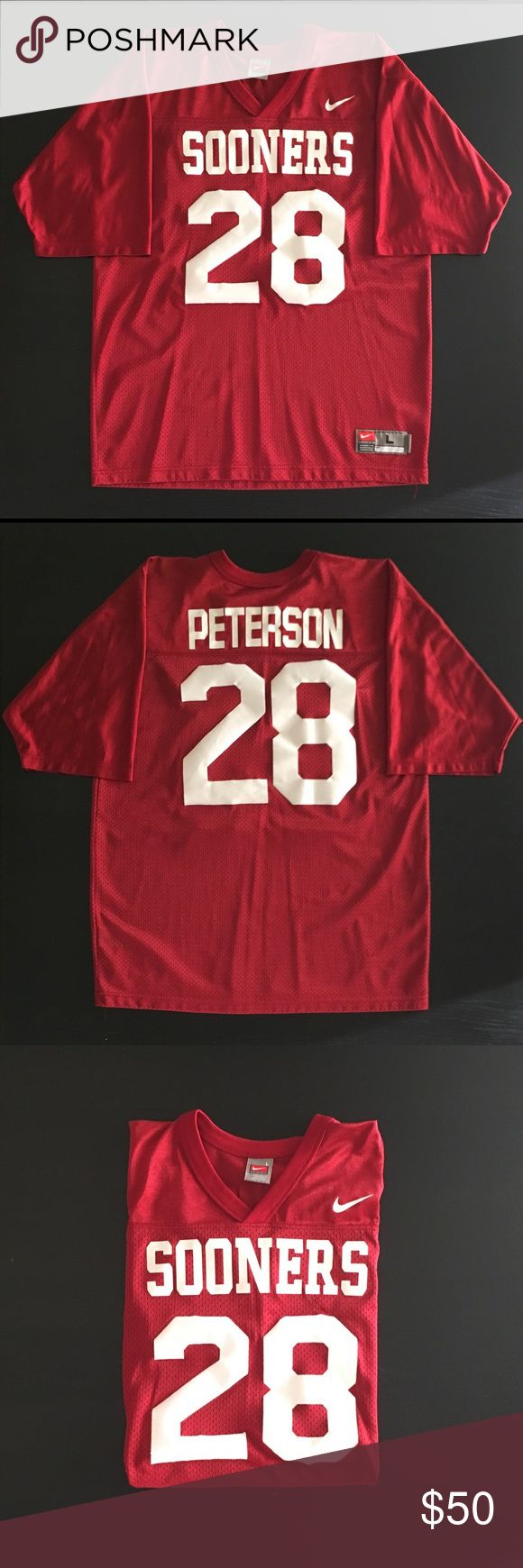 Vintage Adrian Peterson Sooners Fan Jersey. Sz Lrg Vintage, Adrian Peterson Sooners Fan Jersey by Nike in a Men's Large.  Rare gem!  Body: 100% Nylon.  Trim: 100% Polyester Exclusive of Decoration.  Both the team name and Adrian's last name on back are screen printed.  The numbers on front and back are adhesives and not actually stitched on... due to natural aging the numbers have lost some of their adhesiveness, but nothing major.  Zero stains on this jersey and fits great! Nike Shirts Tees…