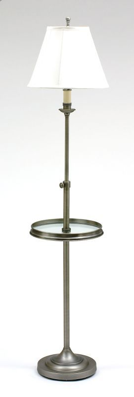 House of Troy CL202 Single Light Adjustable Floor Lamp from the Club Collection Antique Silver Lamps Floor Lamps