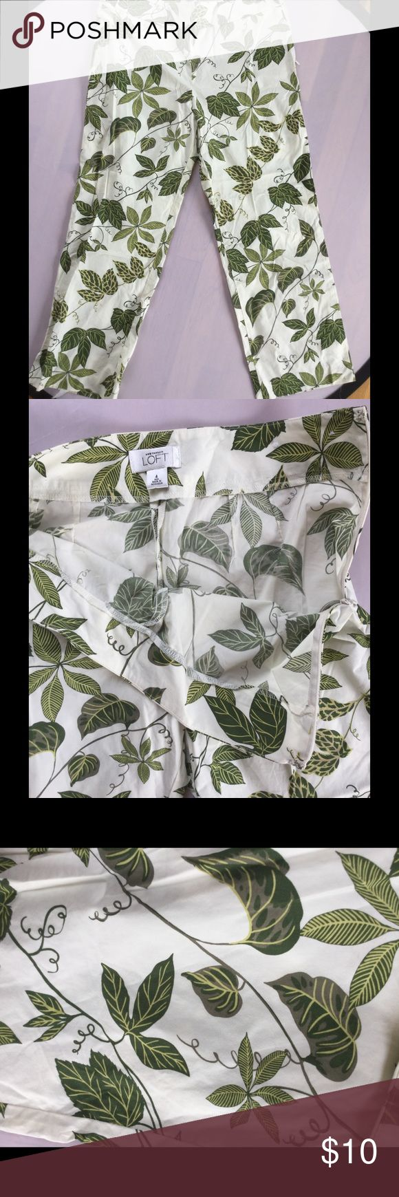 Loft Botanical Capris Great Loft capris. I adore these capris, but after having my third child, I've resigned myself to never fitting in them again. They are in great condition. Side zip. Non-smoking home. No trades, please. LOFT Pants Capris