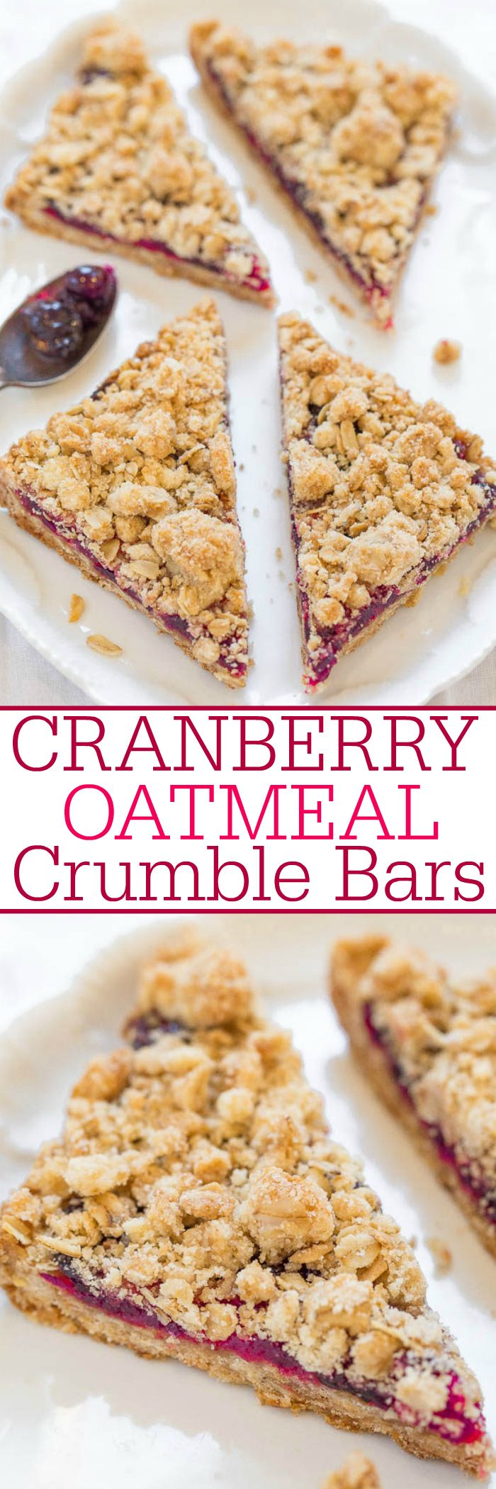 Cranberry Oatmeal Crumble Bars - Fast, easy, no mixer bars with juicy cranberries and big crumbles!! Perfect for breakfast, snacks, or dessert! Soft, chewy, hearty, and so good!!
