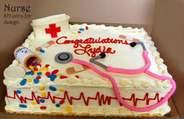 Sheet cake decorated with nurse-themed extras!