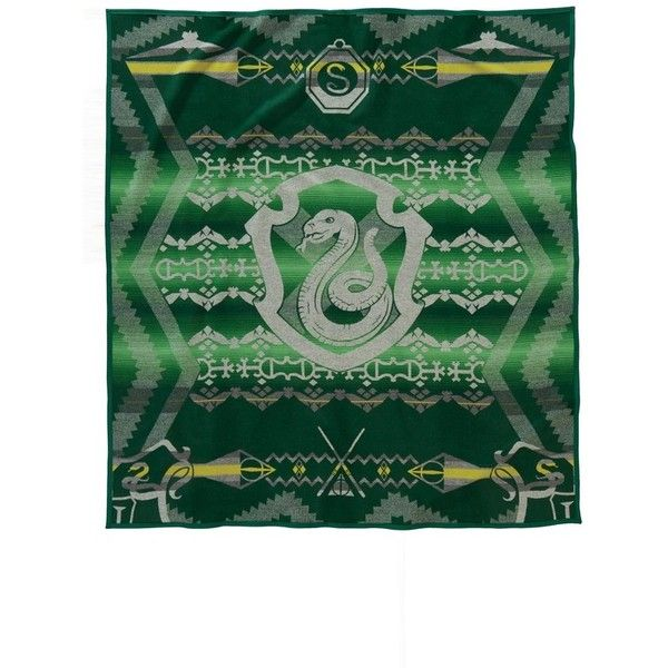 Pendleton Harry Potter - Slytherin Blanket ($299) ❤ liked on Polyvore featuring home, bed & bath, bedding, blankets, green, pendleton bedding, pendleton, green blanket, pendleton blankets and green bedding