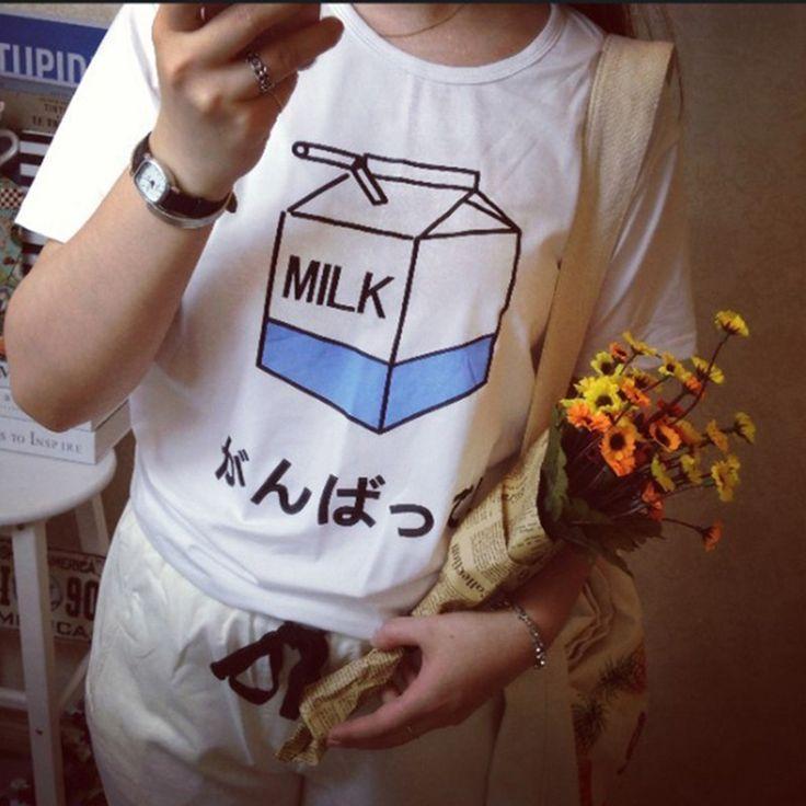 Japanese Harajuku Cute Soft Milk Box Print Short Sleeve T shirt Tops