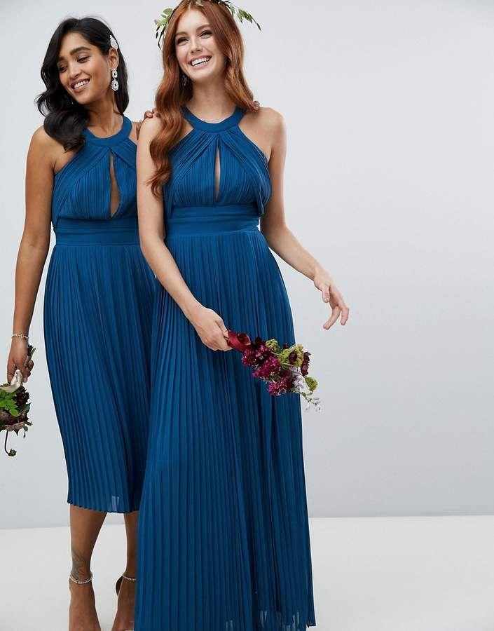 c56d7fbdda4 TFNC pleated bridesmaids maxi dress in petrol blue  bridesmaids pleated TFNC