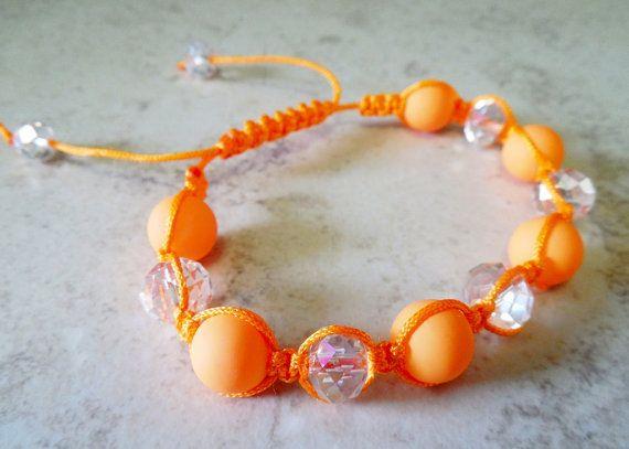 Neon Orange Shamballa Inspired Beaded  by PreciousPBoutique
