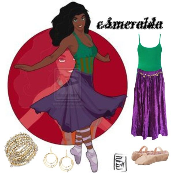 Esmeralda - Disney University by aquatic-angel on Polyvore featuring moda, WearAll, Capezio, INC International Concepts, Touch of Silver and Disney