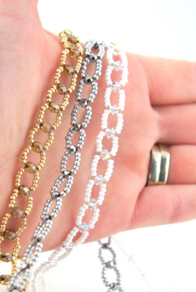 White Czech Glass Beaded Headband With Swarovski Crystals - No Headaches - Wedding, Bridal