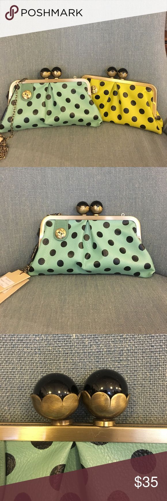 Polka dot clutch bags Polka dot clutch bags with a strap. 2 available. One in blue one in green Bags Mini Bags