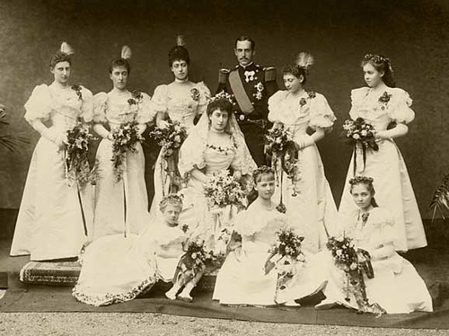 The wedding of Prince Carl of Denmark, later King Haakon VII of Norway and Maud of Wales, later Queen Maud of Norway at Buckingham Palace, November 22, 1896