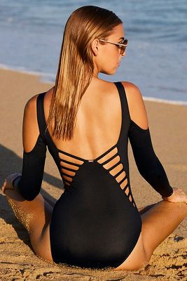 Long Sleeve Strappy One-piece Swimsuit