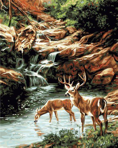$23.38 - Plaid Paint by Number Kit, 16x20, Waiting at The Stream