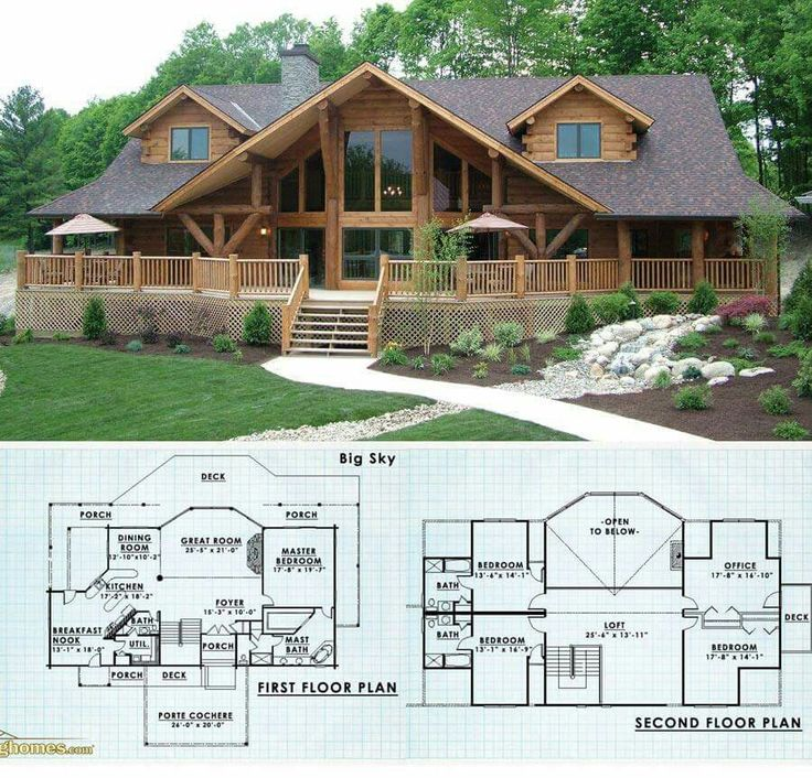 25 best ideas about log cabin floor plans on pinterest for Log home plans with garage