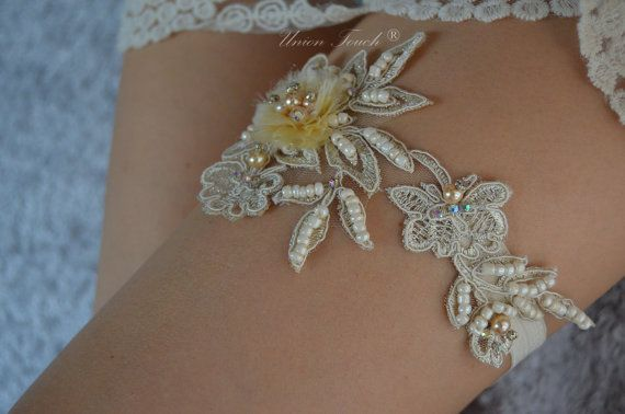 Light Gold Beaded Lace Wedding Garter Lace Garter by UnionTouch