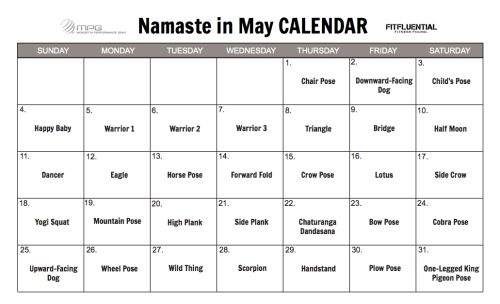 #yoga printable #calendar for May! Join the #challenge. Practice a new pose each day! #FFYOGA #FITFLUENTIAL (follow the link to download and print)
