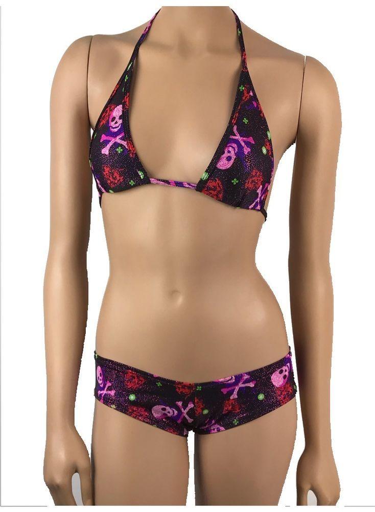 0032557ba0 Exotic Dancewear Boyshorts Tri Top Skulls Booty Polewear Clubwear  Stripperwear  Unbranded