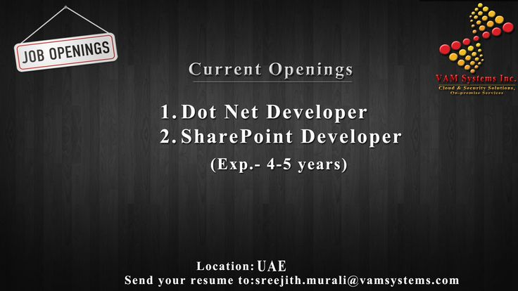 WANTED 1 Dot Net Developer 2 SharePoint Developer LOCATION - net developer resume