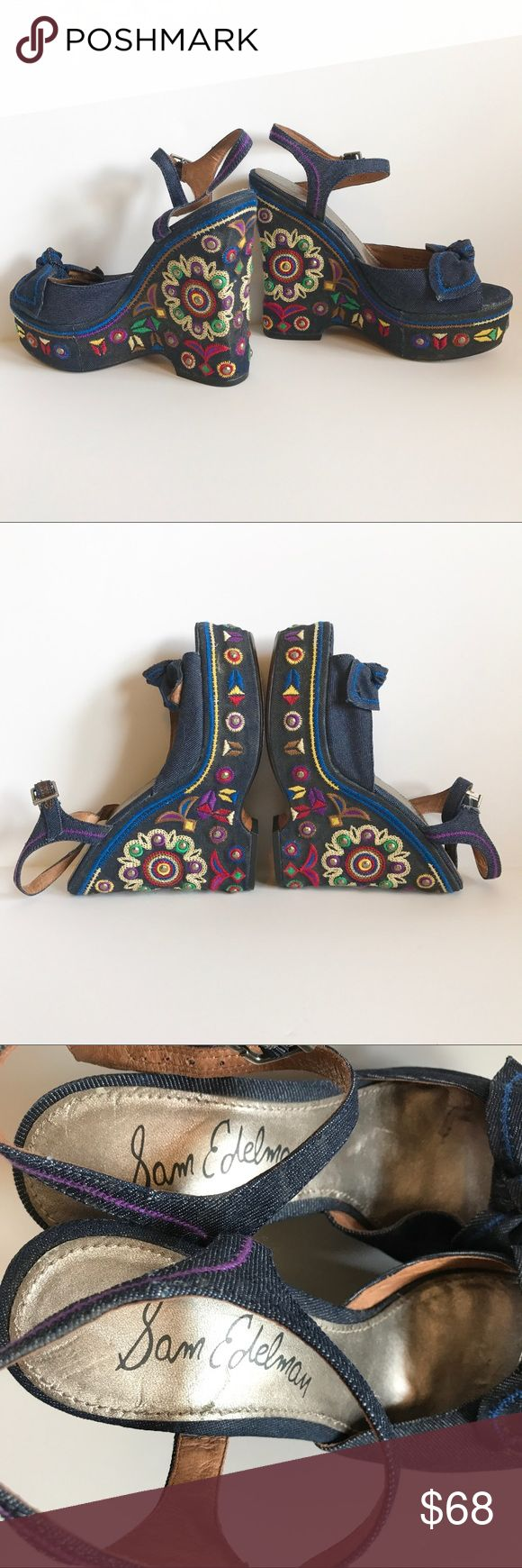"SAM EDELMAN ""Rylee"" Wedge Sandal Perfection! Beautifully decorated Bohemian sandals. Wrapped in denim with studs, embroidery and more. Size 8. BOHO BABES - watch out! Must have :)    Thank you for looking and please check out the rest of my closet. Sam Edelman Shoes Wedges"