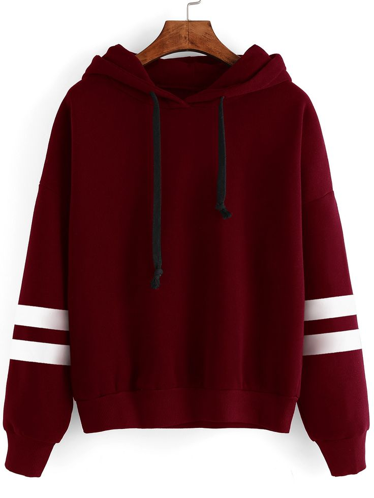 Sweat-shirt à rayure avec capuche - bordeaux -French SheIn(Sheinside)