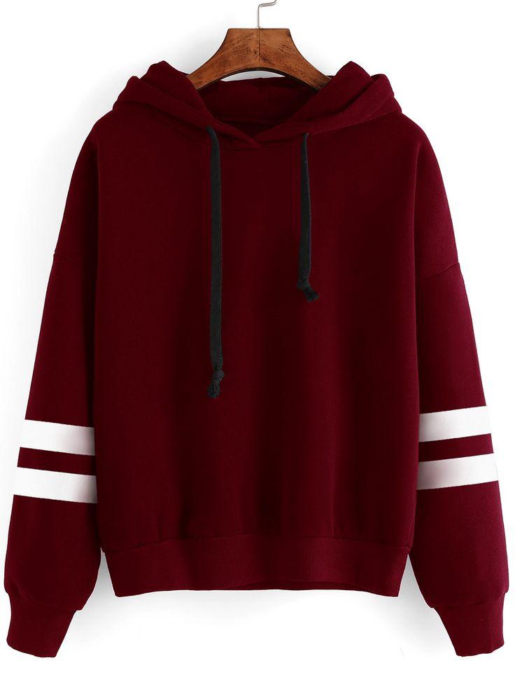 Cut-Outs Sweatshirt mit Kapuzem Baseball Streiftem -burgund rot - German SheIn(Sheinside)