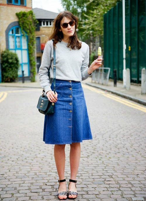 knee-sirt-denim-skirt-summer-spring-sandals-alexa-chung