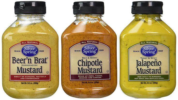 Silver Spring All Natural Mustard 3 Flavor Variety Bundle: (1) Silver Spring Beer'n Brat Horseradish Mustard, (1) Silver Spring Rich And Smoky Chipotle Mustard, and (1) Silver Spring Tangy