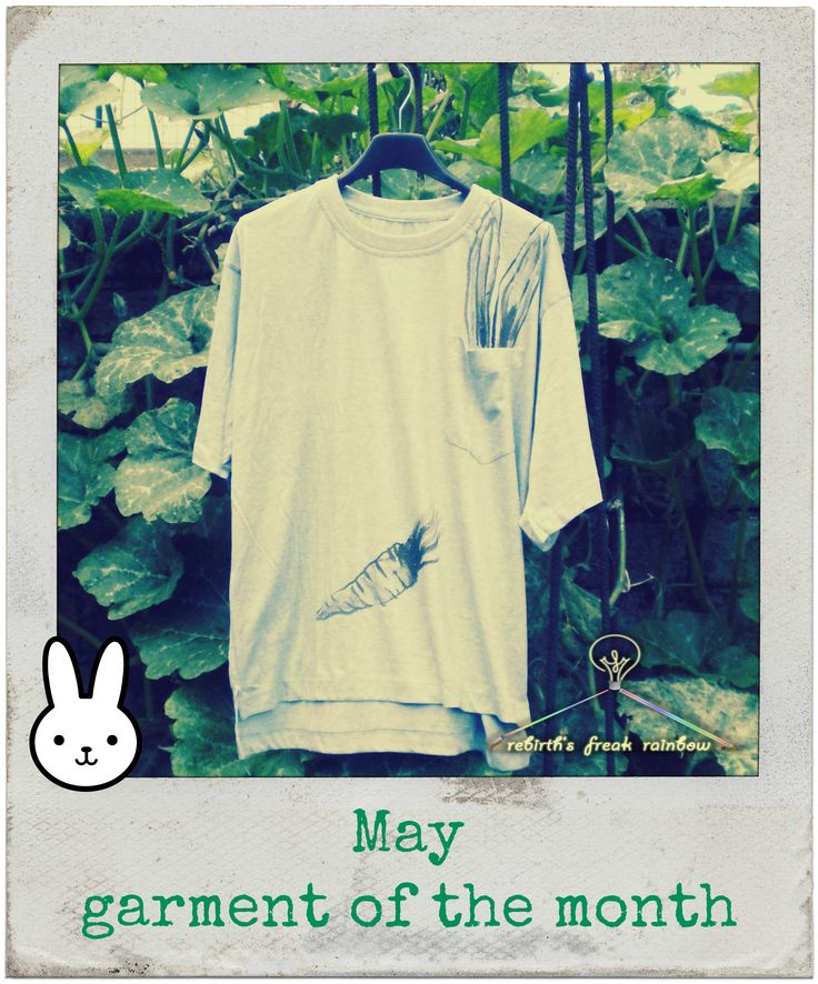 May - garment of the month Rabbit in a pocket with carrot. Spells of May