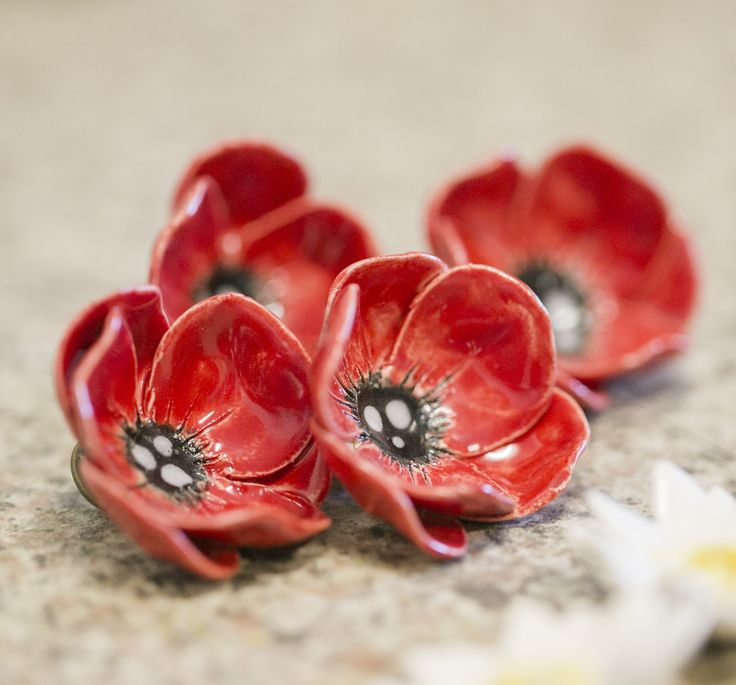 ceramic poppy brooch