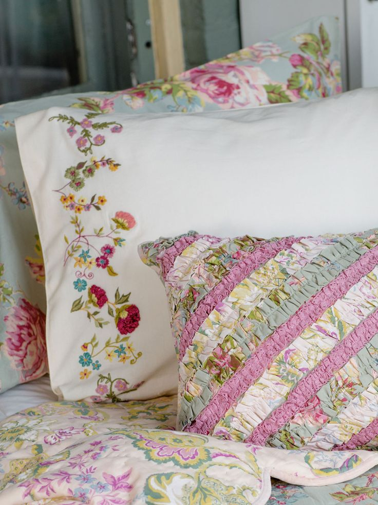 Set a gorgeous bed enhanced by our lovely Garden sampler embroidered pillowcase. Embellished on one side with a variety of our favorite floral embroideries, always made in 100% skin soft cotton.
