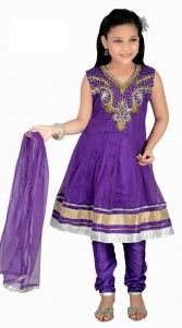 Beautiful purple color, net fabric readymade kids anarkali suit for party…