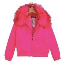Fluro nylon bomber with detachable fur collar and quilt lining. #winterfashion #girls