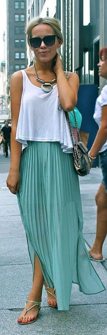 Green Side Splited Accordion Pleat Full Length Skirt