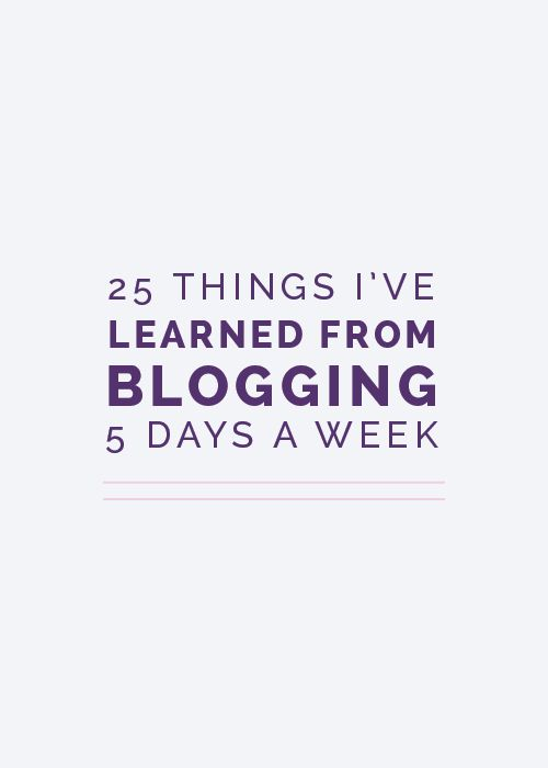 25 Things I've Learned from Blogging 5 Days a Week