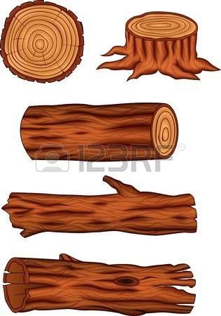dřevo: Vektorové ilustrace Dřevěný sada kolekce log