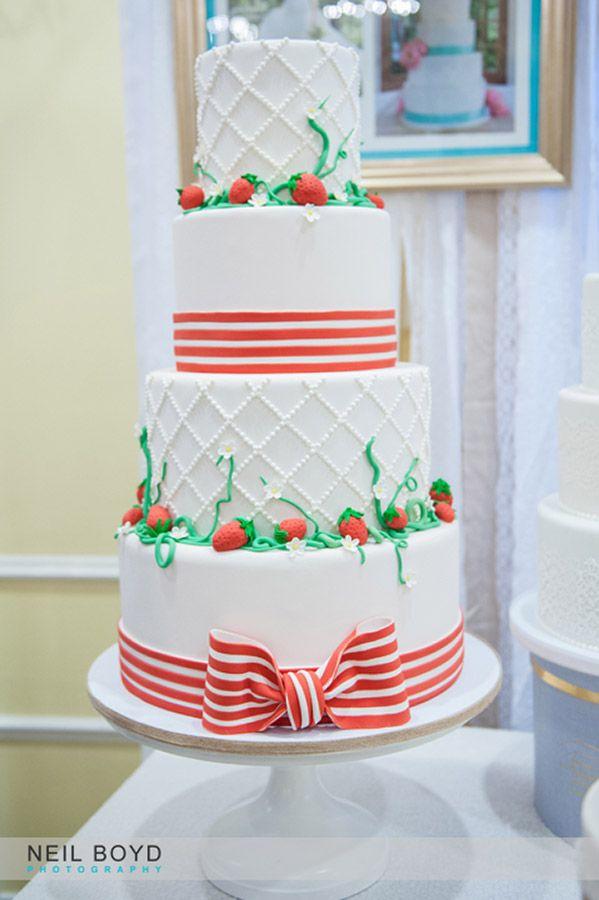 Ashley Cakes In Raleigh, NC. Strawberry Summer Wedding Cake. Raleigh  Weddings. Neil