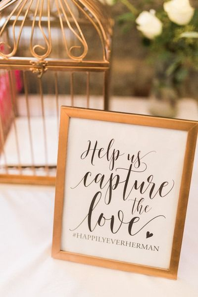 "Elegant social media wedding sign idea - gold-framed sign with ""help us capture the love"" with couple's hashtag {Rockhill Studio}"