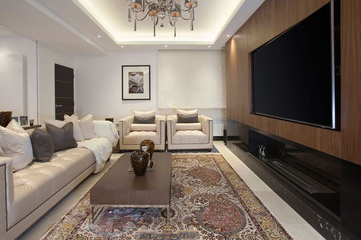 Luxury Living Room with Bespoke Media Unit | JHR Interiors
