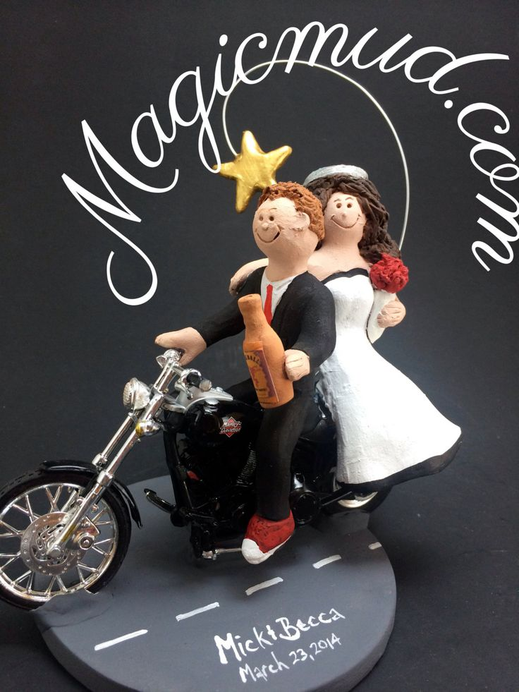 Harley Davidson Motorcycle Wedding Anniversary Gift/Cake Topper, Motorcycle Bride and Groom Wedding Anniversary Gift/Cake Topper.    Bride and Groom Riding Harley-Davidson Motorcycles Wedding Cake Topper, Custom Made to your specifications. Made just for your wedding day! Both the bride and groom are riding their own harley motorcycles!!    $235 #magicmud 1 800 231 9814 www.magicmud.com